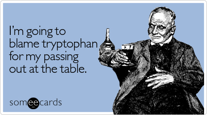 I'm going to blame tryptophan for my passing out at the table